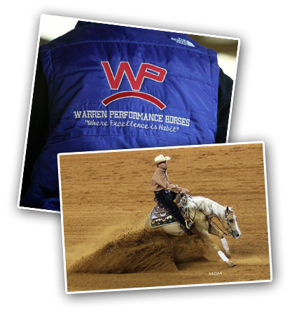 Warren Performance Horses, in Franktown, Colorado, is committed to excellence in the world of reining horses.  Whether it's a horse in training, group or individual lessons, coaching at a horse show or helping you buy or sell a horse, our primary focus is helping you achieve excellence with your horses.  Devin Warren is a Four Time Reining World Champion and has over 20 years experience as a horse trainer, breeder and showman.